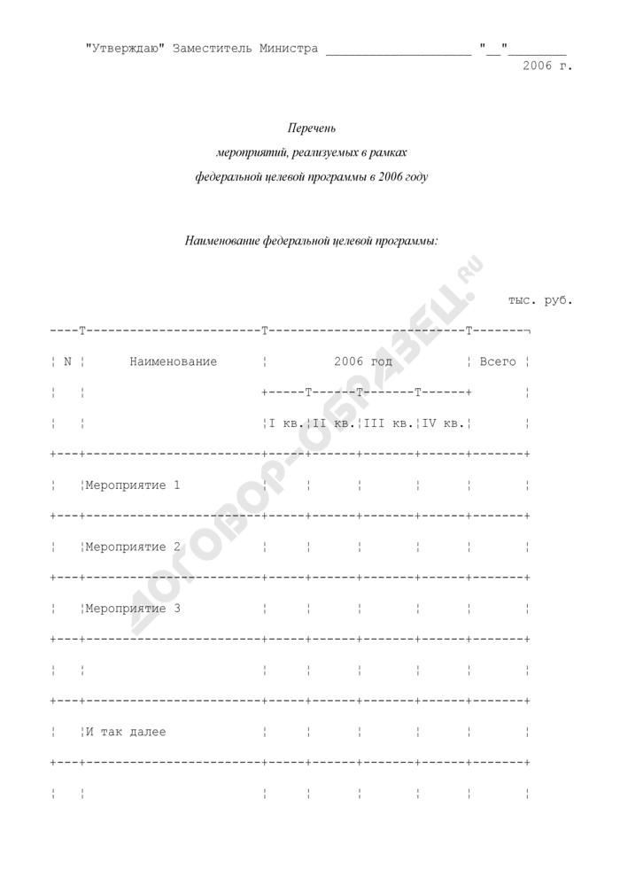 Перечень мероприятий, реализуемых в рамках федеральной целевой программы. Страница 1