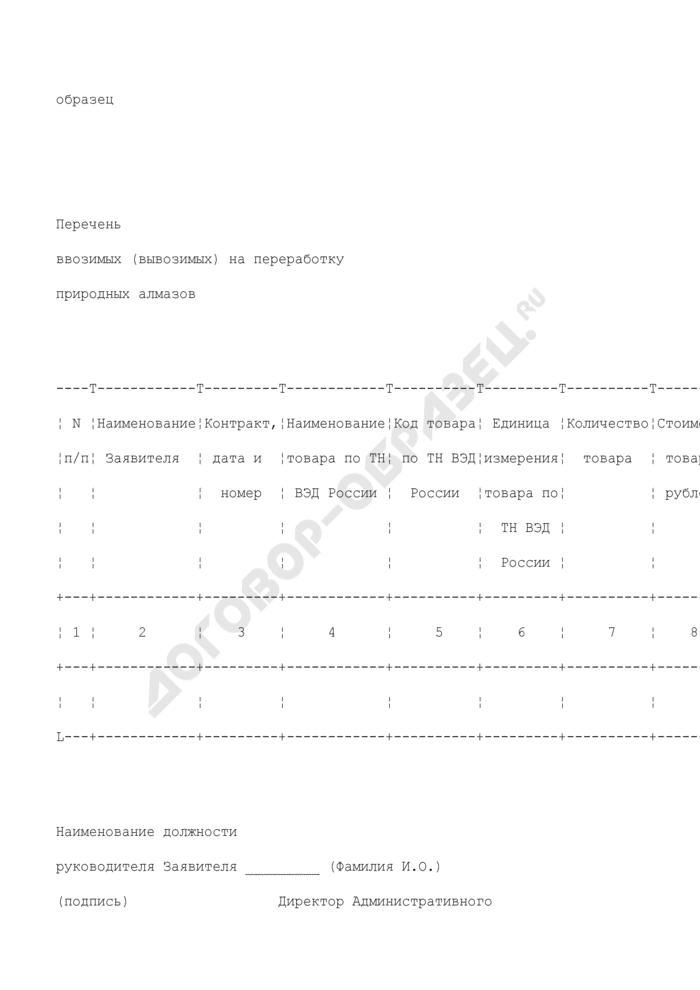 Перечень ввозимых (вывозимых) на переработку природных алмазов (образец). Страница 1