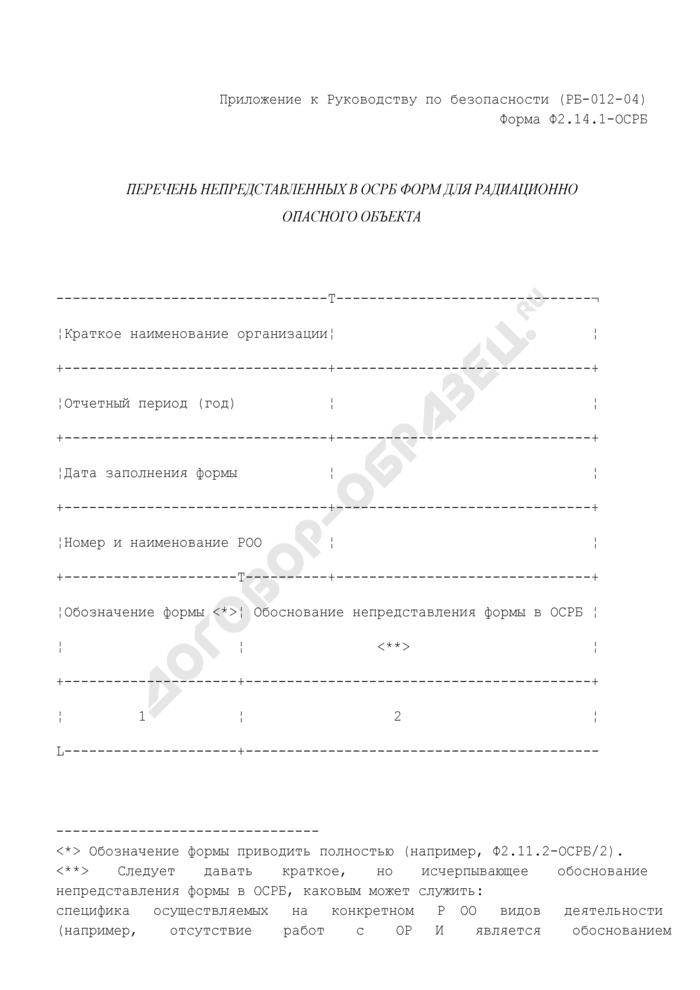 Перечень непредставленных в ОСРБ форм для радиационно опасного объекта. Форма N Ф2.14.1-ОСРБ. Страница 1