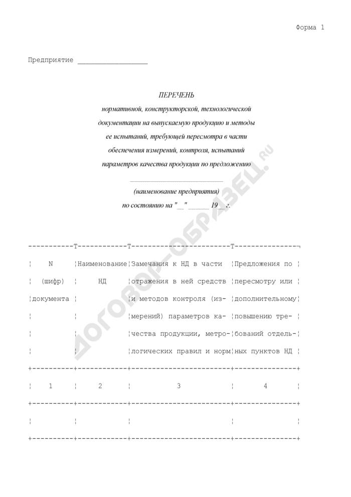 Перечень нормативной, конструкторской, технологической документации на выпускаемую продукцию и методы ее испытаний, требующей пересмотра в части обеспечения измерений, контроля, испытаний параметров качества продукции по предложению предприятия. Форма N 1. Страница 1