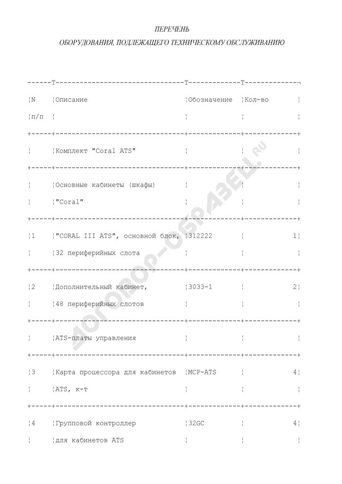"""Перечень оборудования, подлежащего техническому обслуживанию (приложение к государственному контракту на техническое обслуживание цифровых систем коммутации """"Coral""""). Страница 1"""