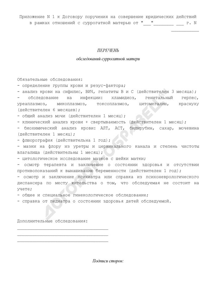 Перечень обследований суррогатной матери (приложение к договору поручения на совершение юридических действий в рамках отношений с суррогатной матерью). Страница 1