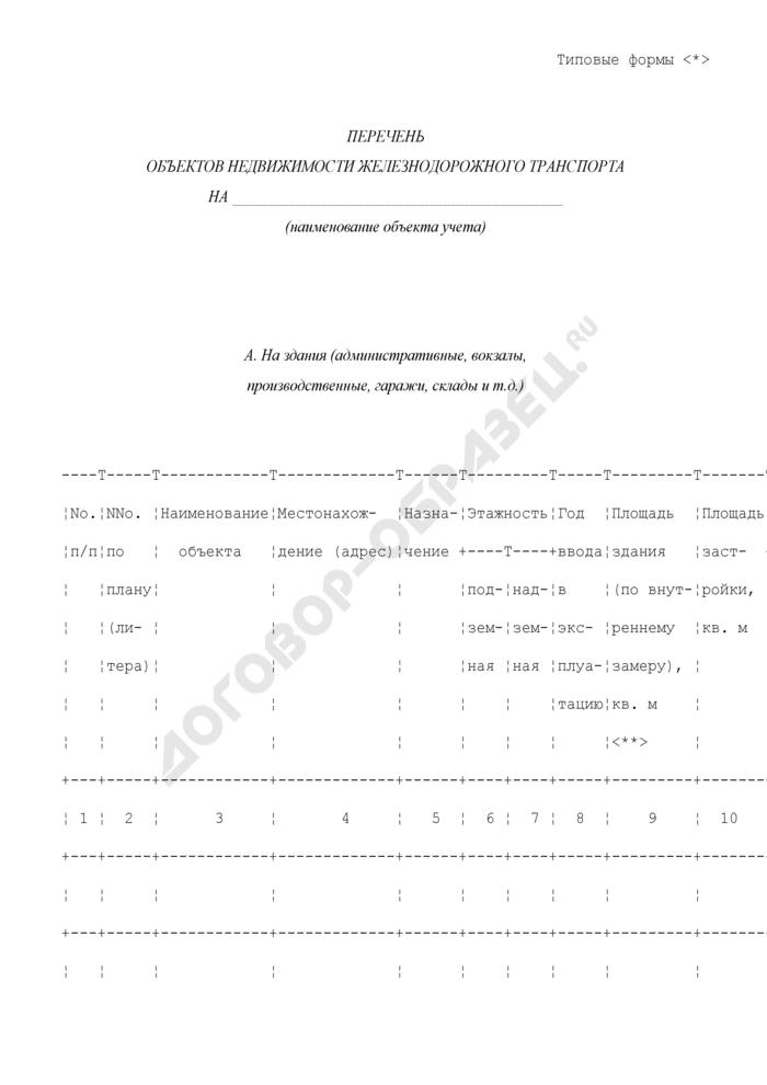 Перечень объектов недвижимости железнодорожного транспорта. Страница 1