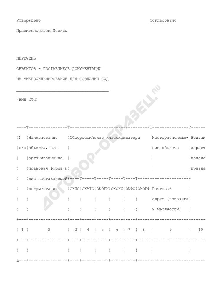 Перечень объектов - поставщиков документации на микрофильмирование для создания страхового фонда документации г. Москвы. Страница 1