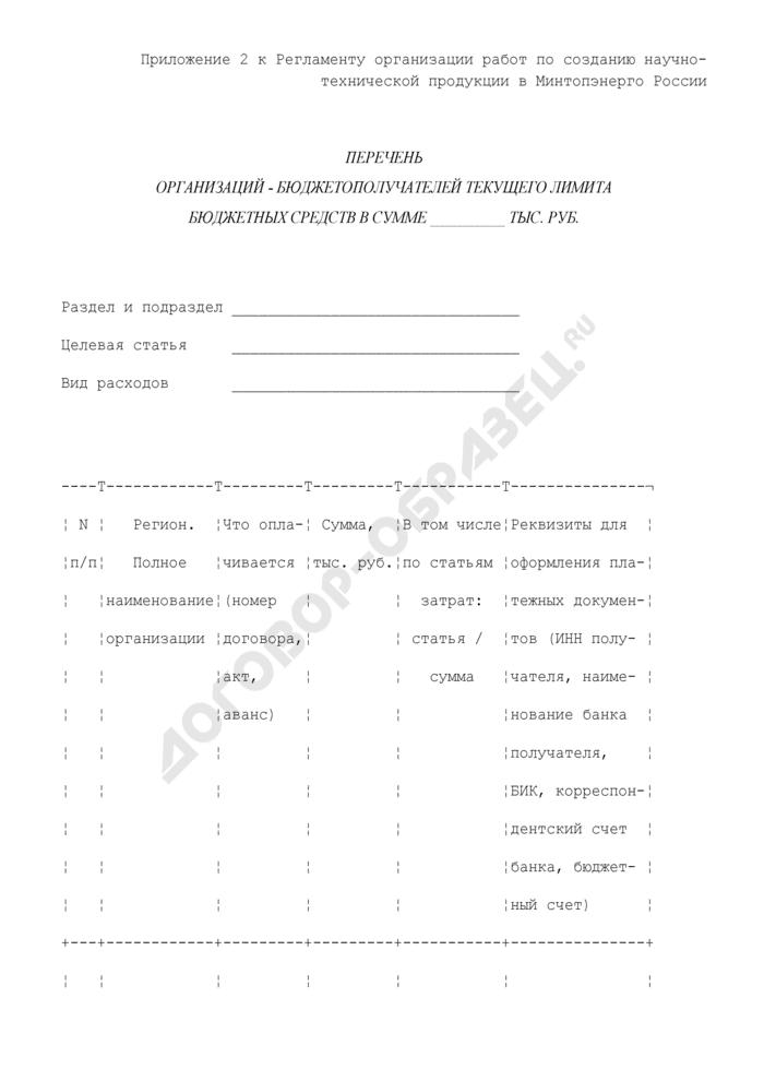 Перечень организаций-бюджетополучателей текущего лимита бюджетных средств для создания научно-технической продукции. Страница 1