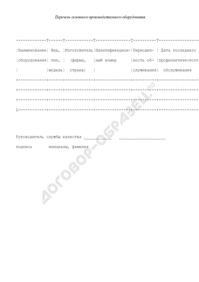 Перечень основного производственного оборудования в области пожарной безопасности в Российской Федерации (приложение к анкете-вопроснику для проведения анализа состояния производства сертифицируемой продукции). Страница 1