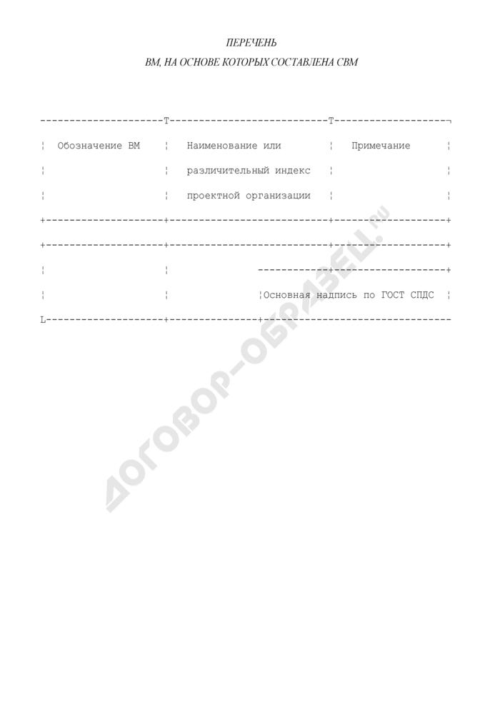Перечень ВМ, на основе которых составлена СВМ. Форма N 4. Страница 1