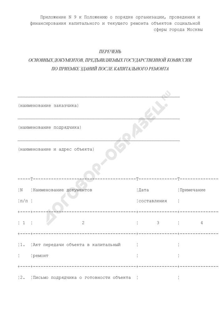Перечень основных документов, предъявляемых государственной комиссии по приемке зданий после капитального ремонта объектов социальной сферы города Москвы. Страница 1