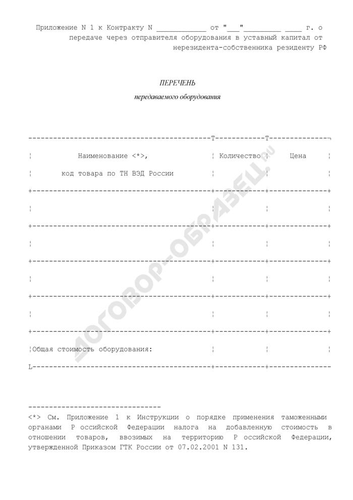 Перечень передаваемого оборудования (приложение к контракту о передаче через отправителя оборудования в уставный капитал от нерезидента-собственника резиденту РФ). Страница 1