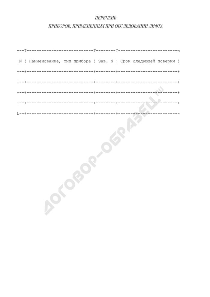 Перечень приборов, примененных при обследовании лифта (приложение к заключению о возможности продления срока безопасной эксплуатации лифта, подвергаемого модернизации). Страница 1