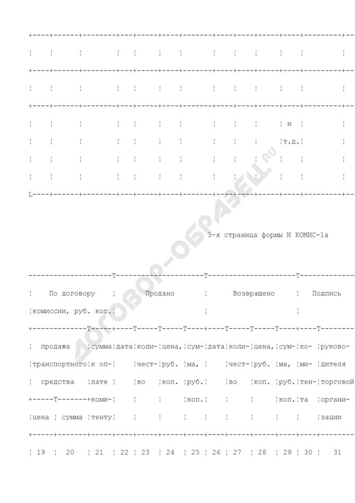 Перечень принятых на комиссию транспортных средств (автомобилей, мотоциклов) и номерных узлов (агрегатов). Унифицированная форма N КОМИС-1а. Страница 3