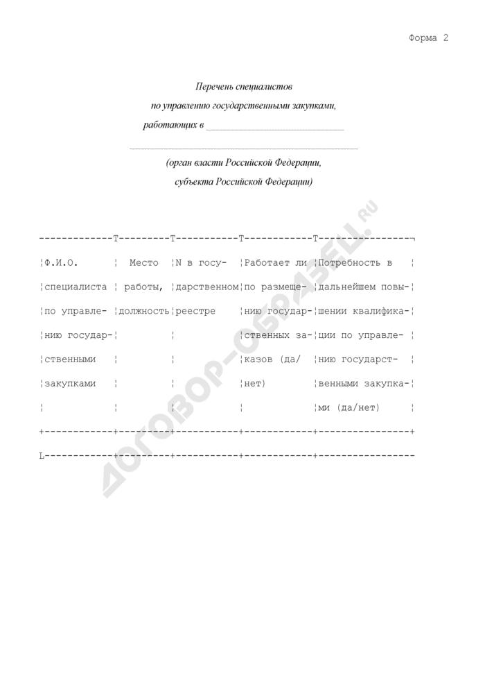 Перечень специалистов по управлению государственными закупками, работающих в органах власти Российской Федерации, субъектах Российской Федерации. Форма N 2. Страница 1