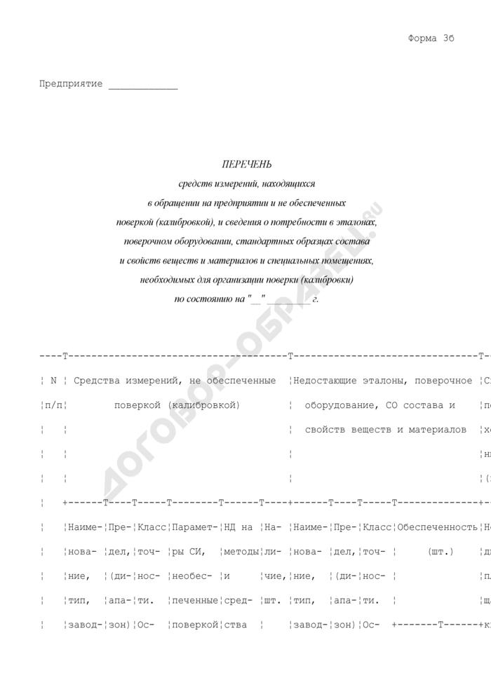 Перечень средств измерений, находящихся в обращении на предприятии и не обеспеченных поверкой (калибровкой), и сведения о потребности в эталонах, поверочном оборудовании, стандартных образцах состава и свойств веществ и материалов и специальных помещениях, необходимых для организации поверки (калибровки). Форма N 3Б. Страница 1