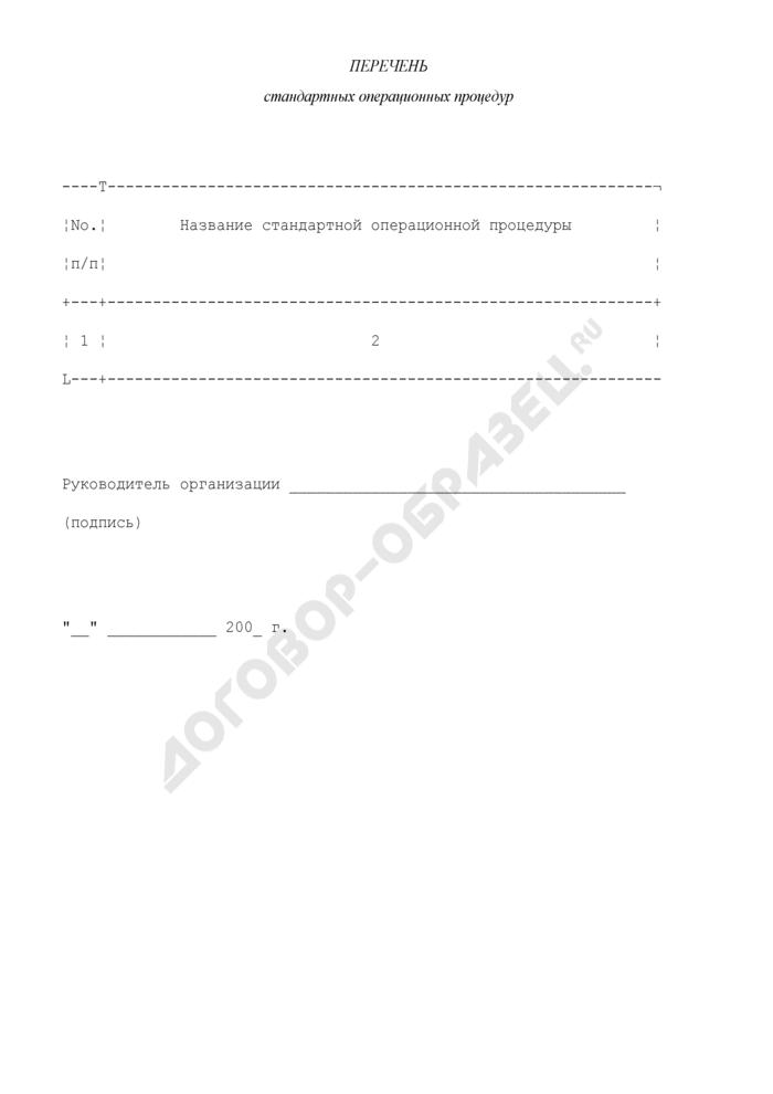 Перечень стандартных операционных процедур проведения доклинических исследований лекарственных средств. Страница 1