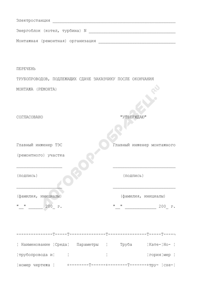 Перечень трубопроводов, подлежащих сдаче заказчику после окончания монтажа (ремонта). Форма N П27.1. Страница 1