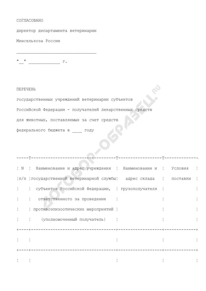 Перечень государственных учреждений ветеринарии субъектов Российской Федерации - получателей лекарственных средств для животных, поставляемых за счет средств федерального бюджета (образец). Страница 1