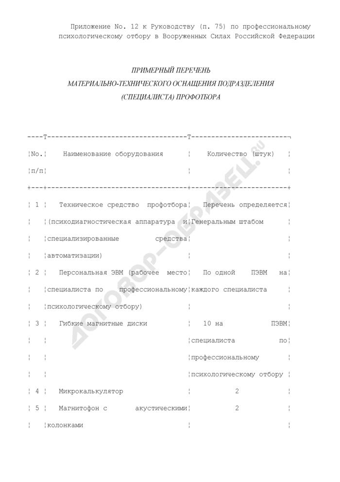 Примерный перечень материально-технического оснащения подразделения (специалиста) профотбора. Страница 1