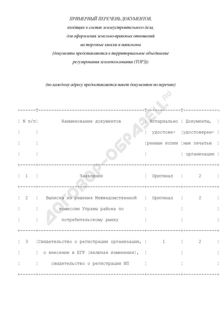 Примерный перечень документов, входящих в состав землеустроительного дела, для оформления земельно-правовых отношений на торговые киоски и павильоны. Страница 1