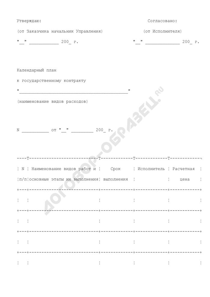 Календарный план (приложение к государственному контракту на выполнение научно-исследовательских работ в интересах Федерального агентства по техническому регулированию и метрологии). Страница 1