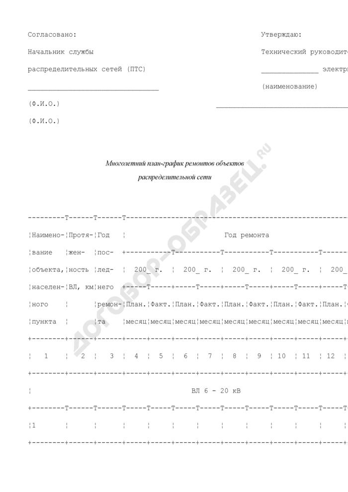 Многолетний план-график ремонтов объектов распределительной сети (рекомендуемая форма). Страница 1