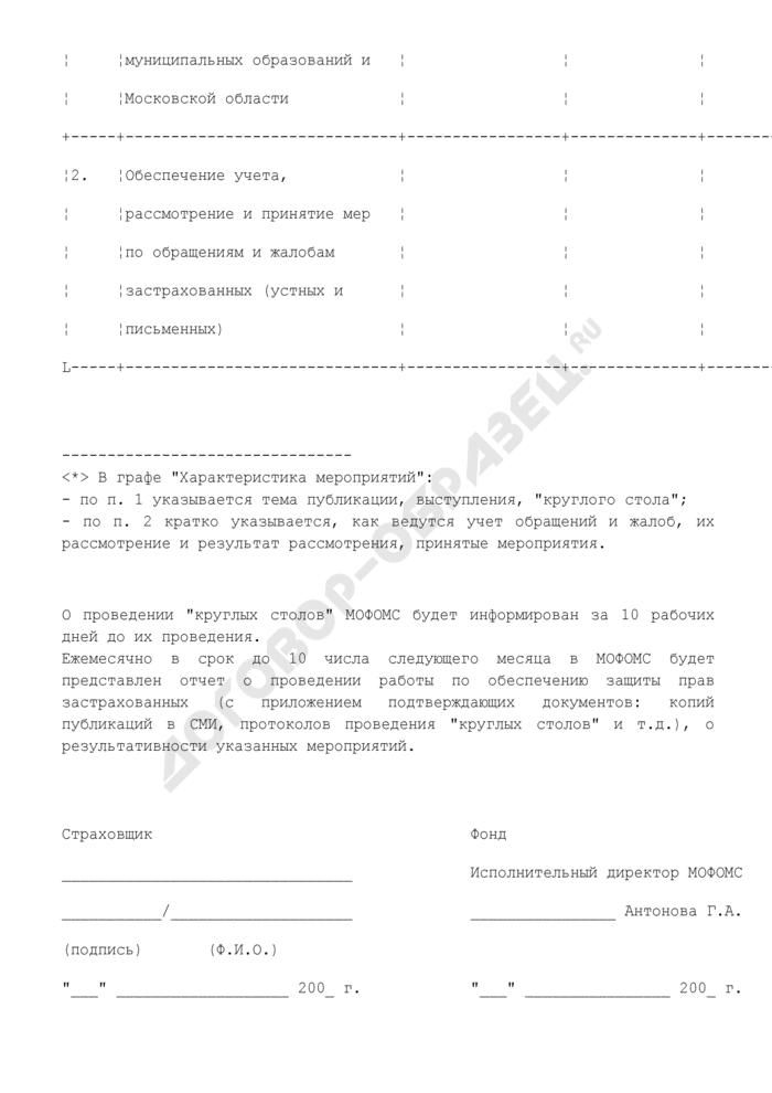 План мероприятий по защите прав застрахованных (приложение к договору о финансировании обязательного медицинского страхования в Московской области). Страница 2