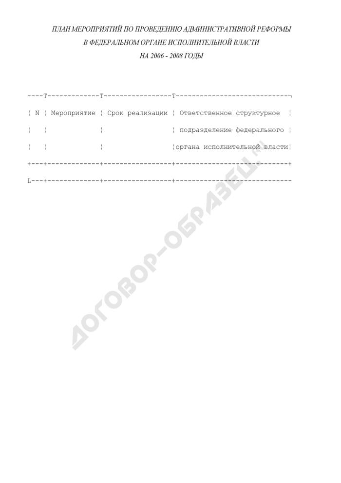 План мероприятий по проведению административной реформы в федеральном органе исполнительной власти. Страница 1