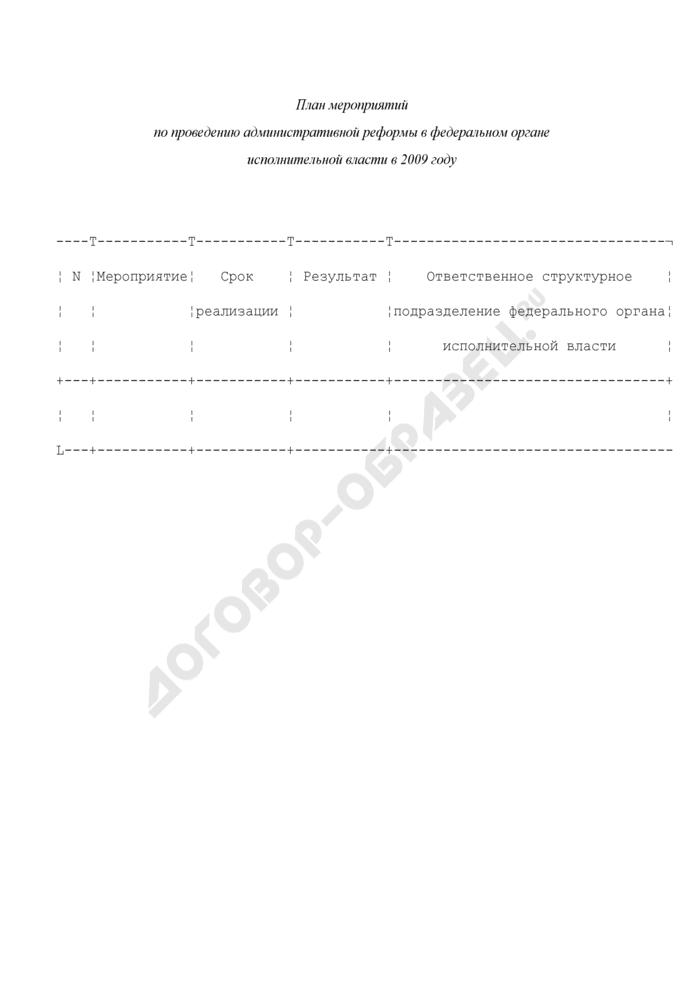 План мероприятий по проведению административной реформы в федеральном органе исполнительной власти в 2009 году. Страница 1