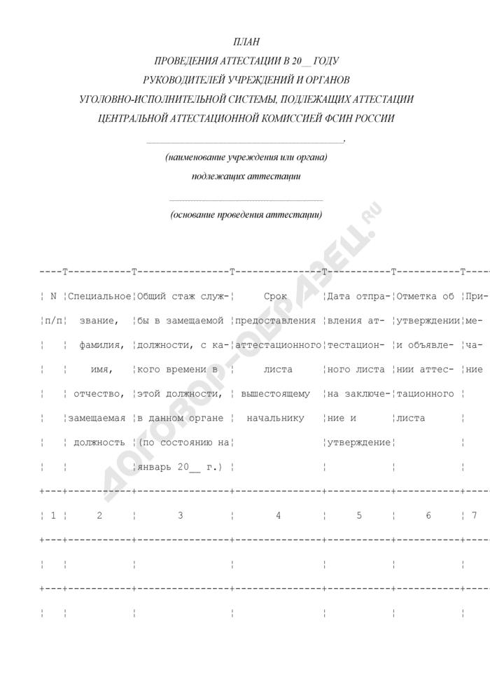 План проведения аттестации руководителей учреждений и органов уголовно-исполнительной системы, подлежащих аттестации центральной аттестационной комиссией ФСИН России. Страница 1