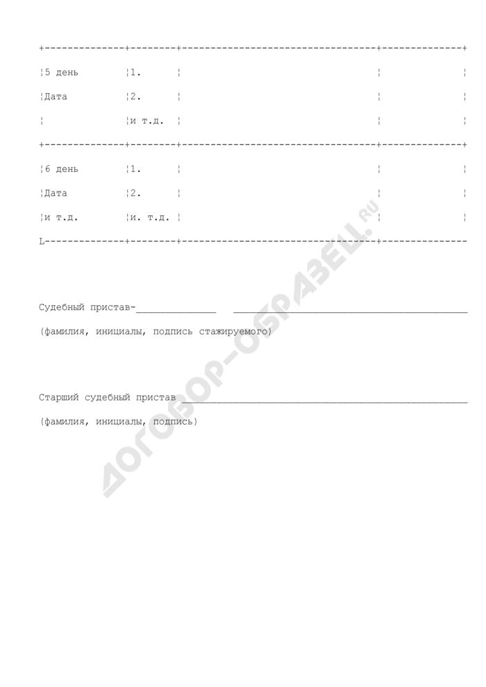 Индивидуальный план стажировки судебного пристава структурного подразделения Федеральной службы судебных приставов. Страница 2