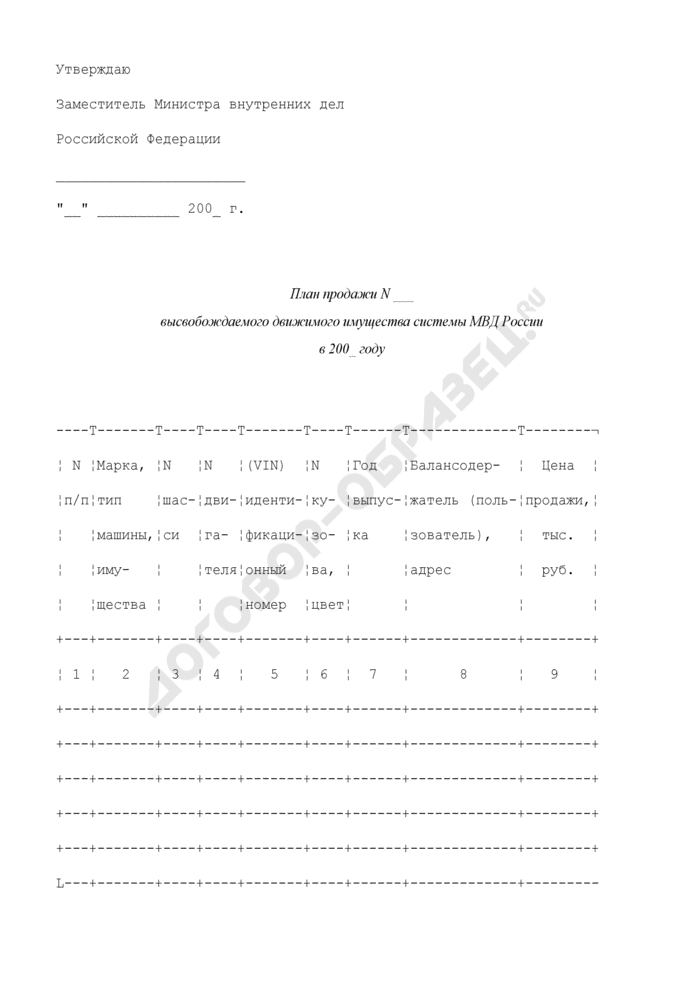 План продажи высвобождаемого движимого имущества (автомобильной, специальной техники и автомобильные базовые шасси) системы МВД России. Страница 1
