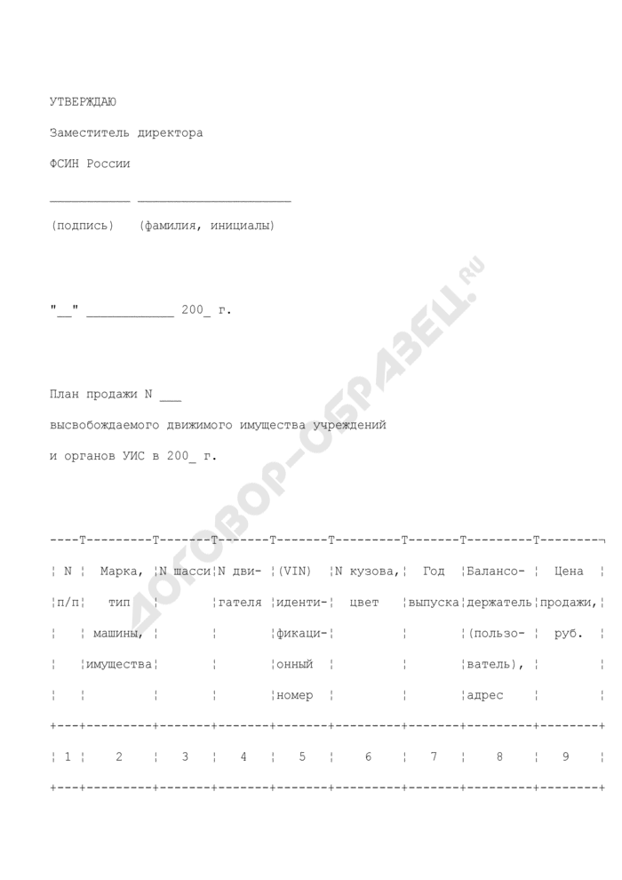 План продажи высвобождаемого движимого имущества учреждений и органов уголовно-исполнительной системы (автомобильной, специальной техники и автомобильных базовых шасси). Страница 1