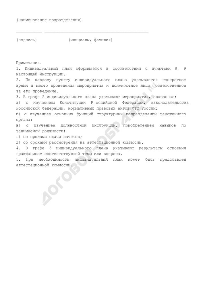 Индивидуальный план прохождения испытания гражданина при приеме на службу в таможенные органы Российской Федерации (образец). Страница 3
