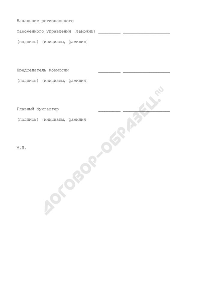 План продажи высвобождаемого движимого имущества (по номенклатуре обеспечение продовольствием), находящегося в оперативном управлении таможенных органов Российской Федерации. Страница 2