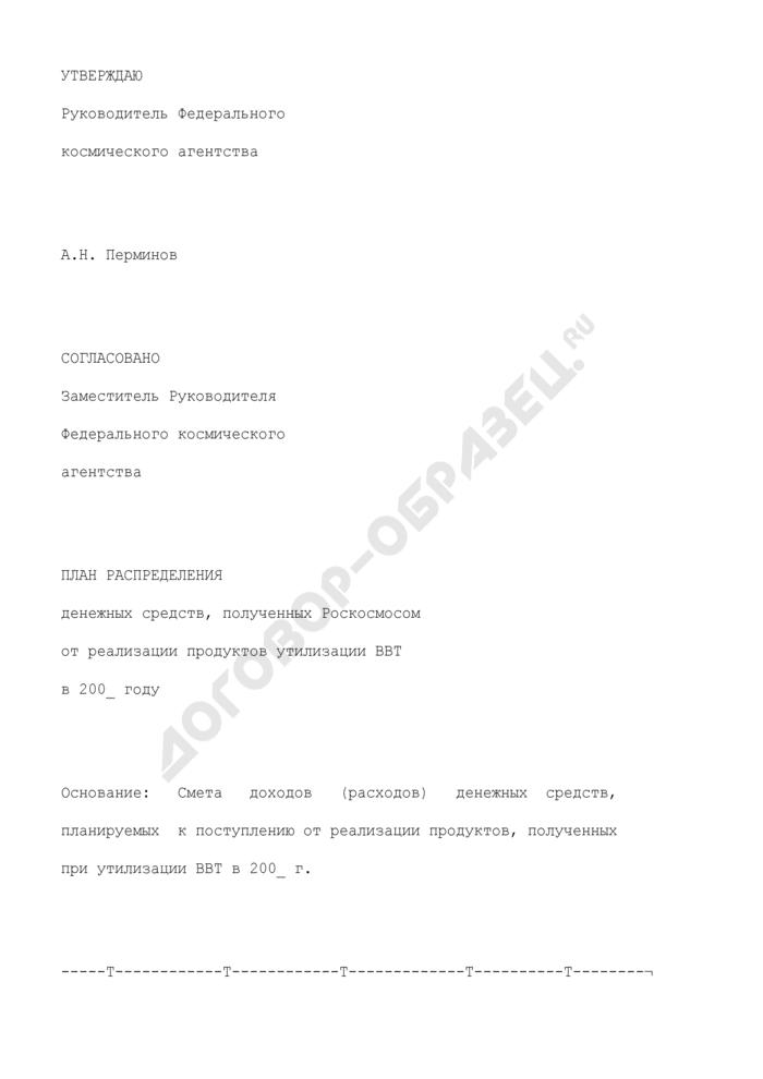 План распределения денежных средств, полученных Роскосмосом от реализации продуктов утилизации вооружения и военной техники. Форма N 2-ВБ. Страница 1