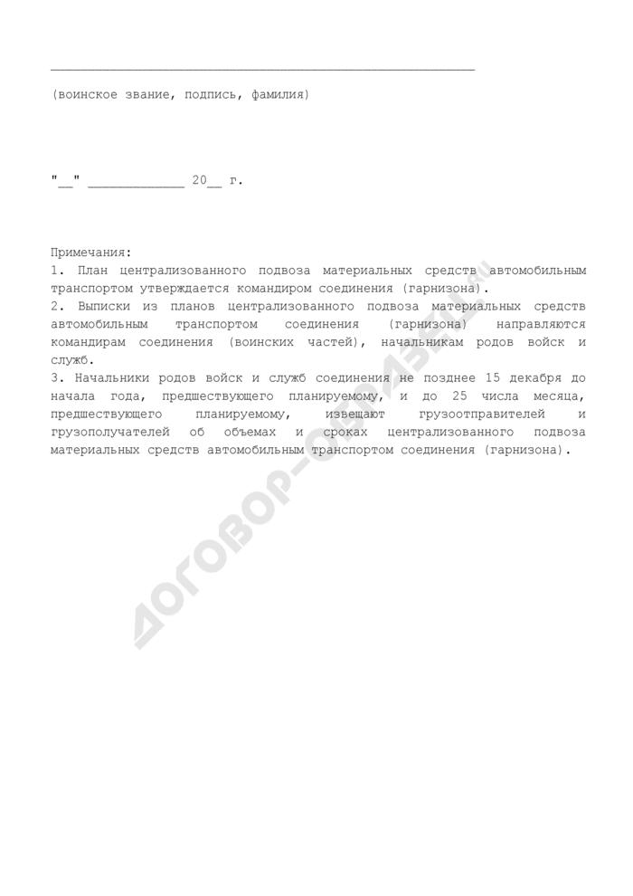 План централизованного подвоза материальных средств автомобильным транспортом в соединении (гарнизоне). Страница 3