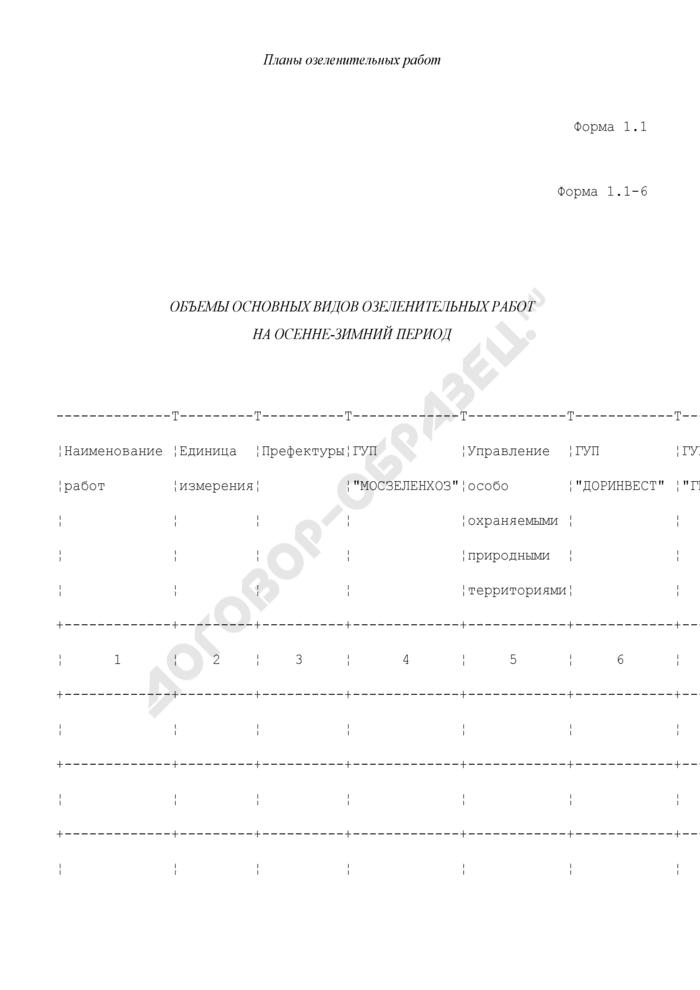 Планы озеленительных работ. Объемы основных видов озеленительных работ на осенне-зимний период. Форма N 1.1-6. Страница 1