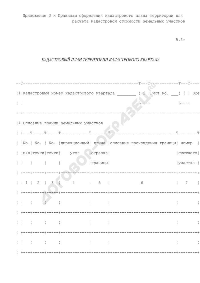 Кадастровый план территории кадастрового квартала. Форма N В.3Т. Страница 1