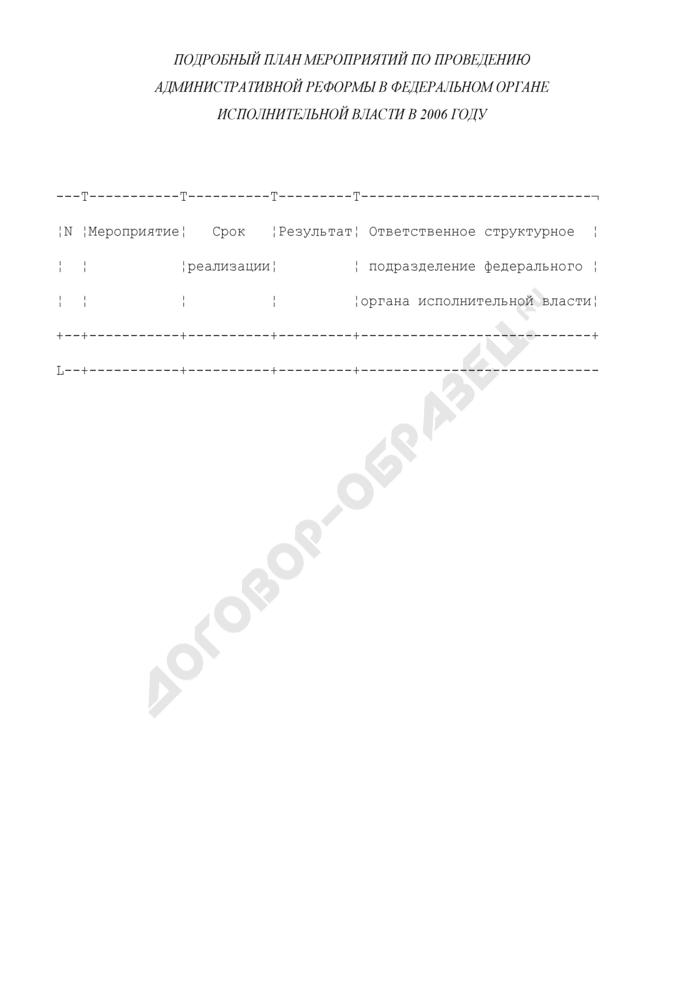 Подробный план мероприятий по проведению административной реформы в федеральном органе исполнительной власти. Страница 1