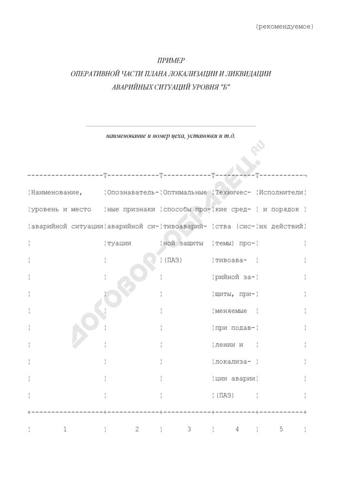 """Пример оперативной части плана локализации и ликвидации аварийных ситуаций уровня """"Б"""" (рекомендуемая форма). Страница 1"""