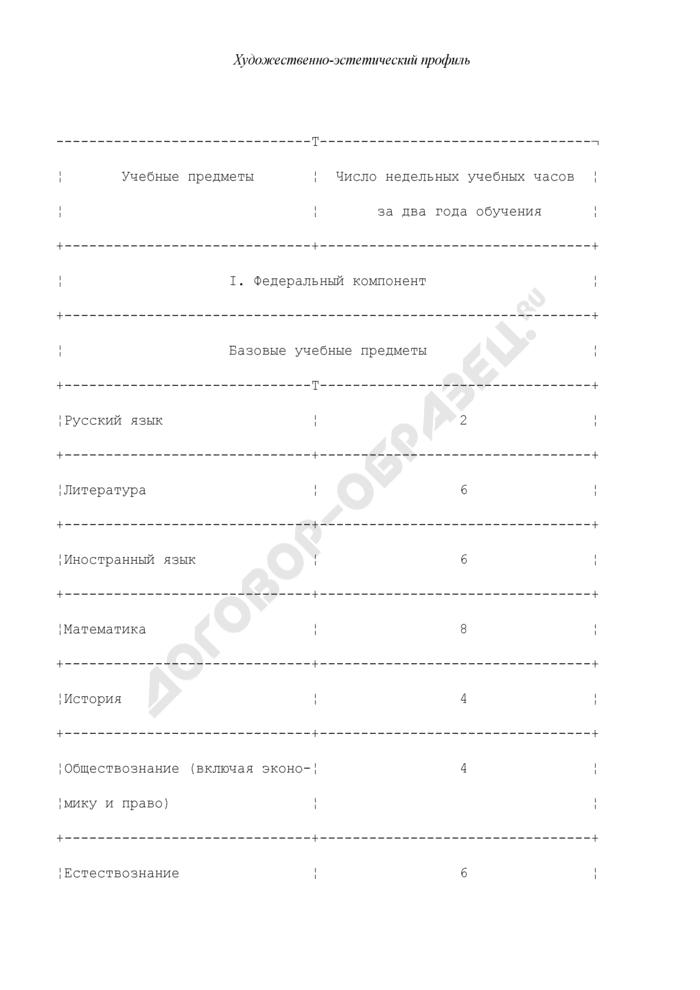 Примерные учебные планы для некоторых возможных профилей. Художественно-эстетический профиль. Страница 1