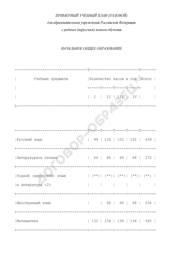Примерный учебный план (годовой) для образовательных учреждений Российской Федерации с родным (нерусским) языком обучения. Начальное общее образование. Страница 1