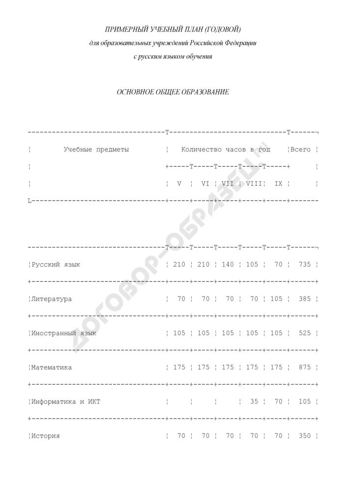 Примерный учебный план (годовой) для образовательных учреждений Российской Федерации с русским языком обучения. Основное общее образование. Страница 1