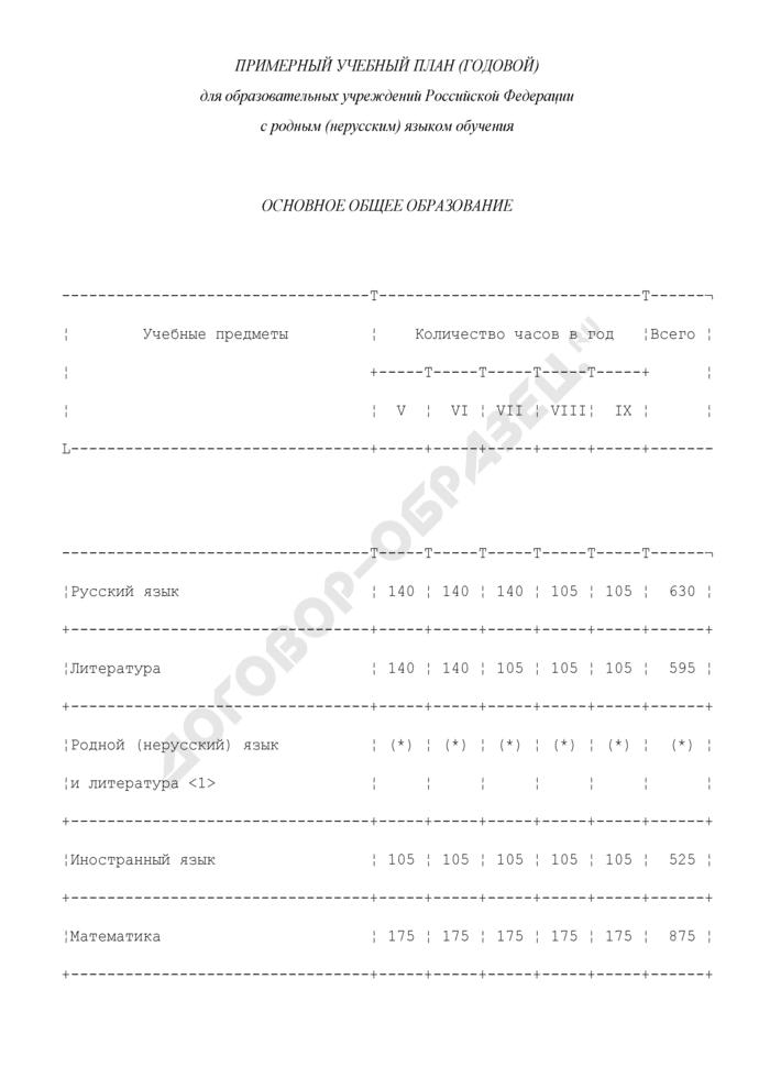 Примерный учебный план (годовой) для образовательных учреждений Российской Федерации с родным (нерусским) языком обучения. Основное общее образование. Страница 1