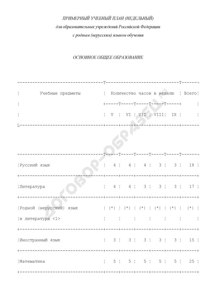 Примерный учебный план (недельный) для образовательных учреждений Российской Федерации с родным (нерусским) языком обучения. Основное общее образование. Страница 1