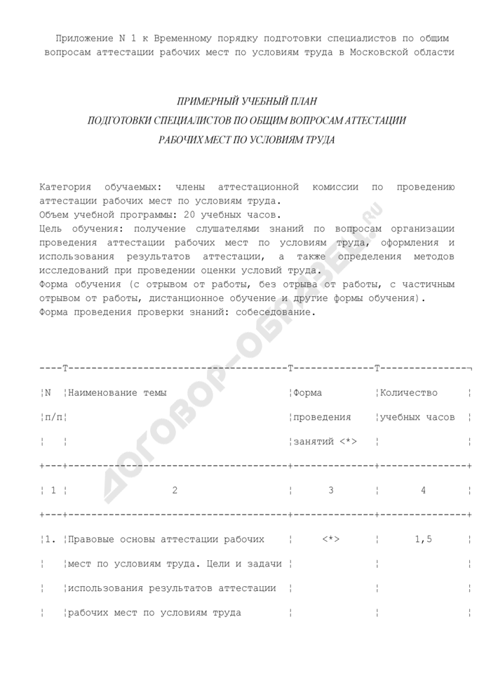 Примерный учебный план подготовки специалистов по общим вопросам аттестации рабочих мест по условиям труда в Московской области. Страница 1