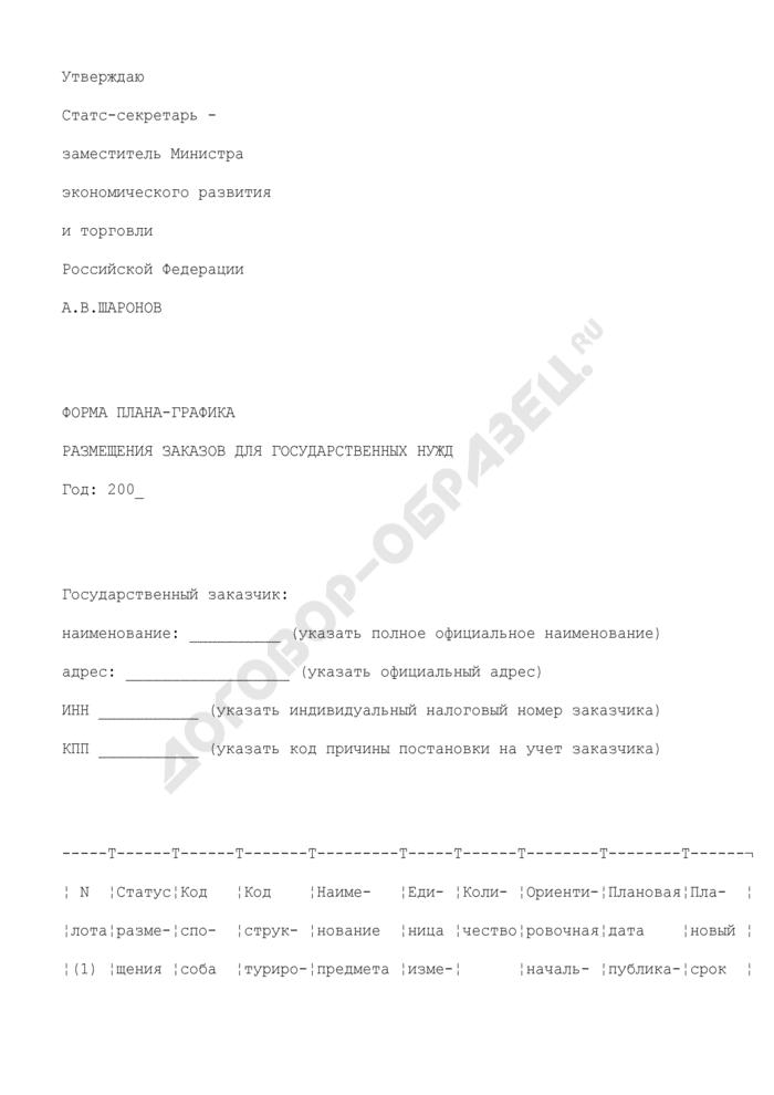 Форма плана-графика размещения заказов для государственных нужд. Страница 1