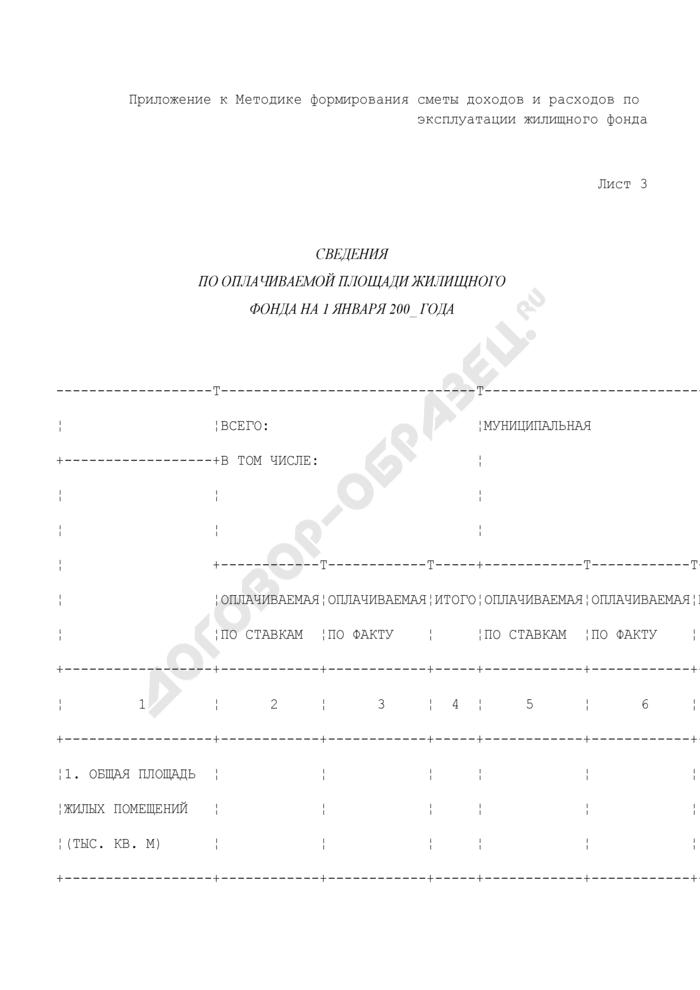 Хозяйственно-финансовый план службы заказчика административного округа. Сведения по оплачиваемой площади жилищного фонда (лист 3). Страница 1