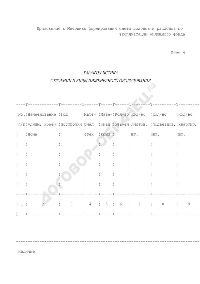 Хозяйственно-финансовый план службы заказчика административного округа. Характеристика строений и виды инженерного оборудования (лист 4). Страница 1