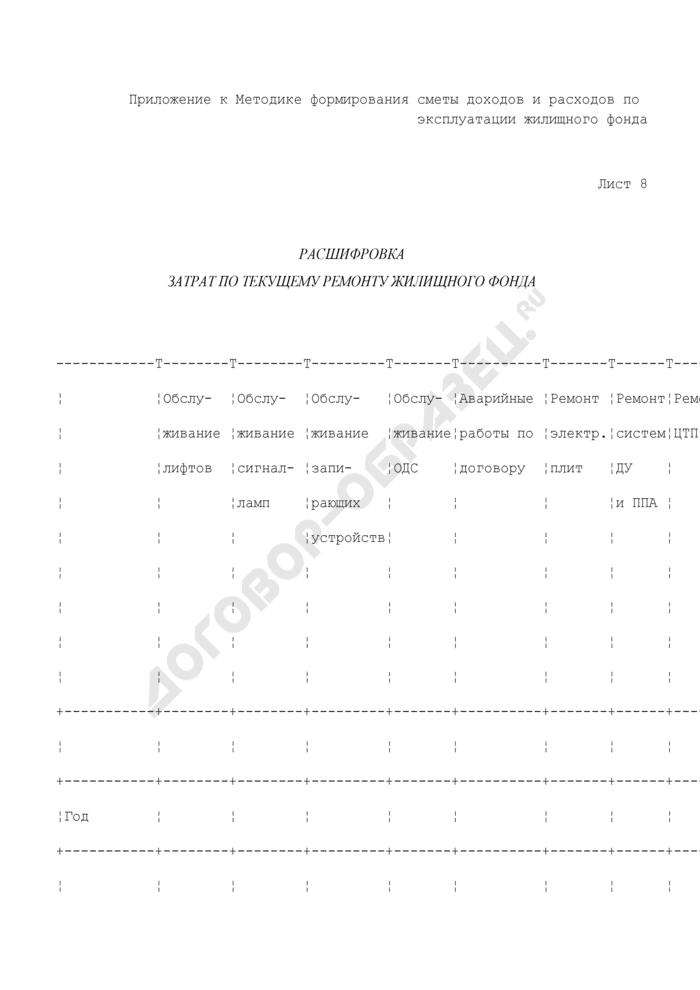 Хозяйственно-финансовый план службы заказчика административного округа. Расшифровка затрат по текущему ремонту жилищного фонда (лист 8). Страница 1