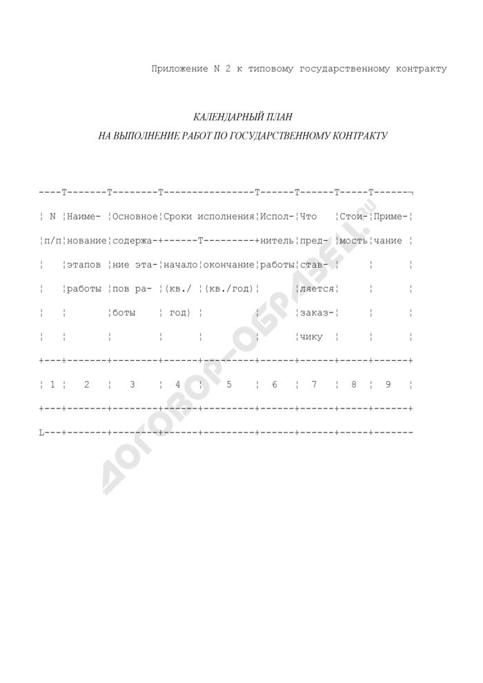 Календарный план на выполнение работ по государственному контракту (приложение к типовому государственному контракту по разработке технических регламентов и других нормативных документов). Страница 1